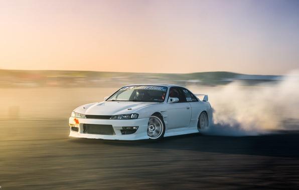 Обои Nissan Turbo White Drift Japan Smoke Jdm