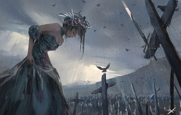 Картинка девушка, птицы, дождь, арт, wlop, ghostblade