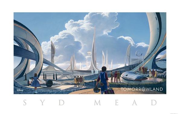 Картинка город, фантастика, рисунок, арт, Tomorrowland, параллельный мир, Земля будущего