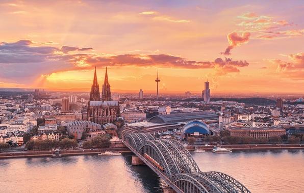 Картинка небо, закат, мост, город, река, собор, германия, рейн, Кёльн