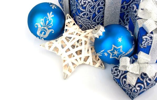 Картинка украшения, шары, Новый Год, Рождество, star, Christmas, balls, blue, New Year, gift, decoration
