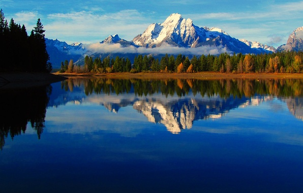 Картинка осень, небо, облака, деревья, горы, туман, озеро, отражение, река, Вайоминг, США, grand teton national park