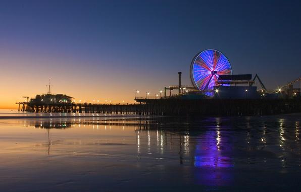 Картинка закат, city, город, океан, побережье, вечер, Калифорния, USA, США, Лос-Анджелес, ocean, coast, sunset, Los Angeles, …