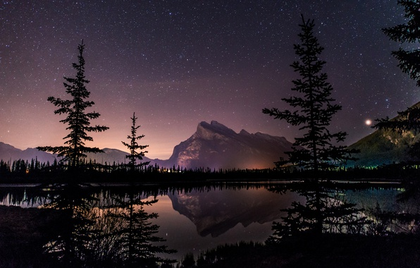 Картинка Alberta, Canada, trees, landscape, night, lake, stars, mirror, vegetation, tourism, Vermillion Lake, Canadian Rockies, natural …