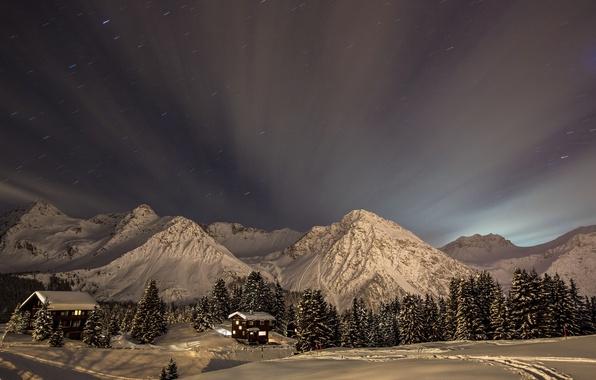 Картинка зима, небо, снег, деревья, пейзаж, горы, природа, дома, звёзды, ели