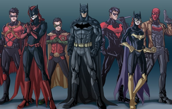 Картинка Batman, Bruce Wayne, Batgirl, Red Hood, Tim Drake, Nightwing, Jason Todd, Bat-family