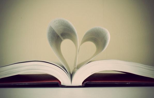Картинка фото, обои, сердце, листы, книга, страницы
