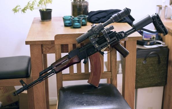 Картинка оружие, комната, автомат, Калашникова, AKM