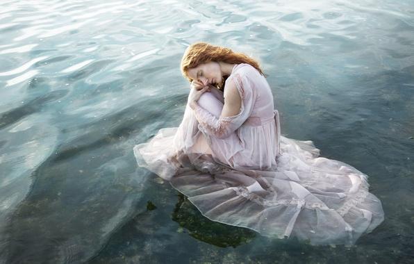 Картинка вода, девушка, настроение, ситуация, платье