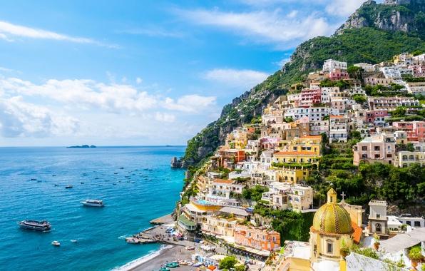 Картинка море, пейзаж, побережье, здания, лодки, Италия, залив, Italy, Campania, Amalfi Coast, Позитано, Positano, Gulf of …