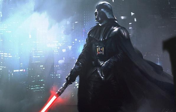 Картинка Здания, Darth Vader, Световой меч, Арт, Звездные Войны, Дарт Вейдер