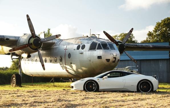 Картинка белый, профиль, white, самолёт, ferrari, феррари, италия, 458 italia, plane, черные диски