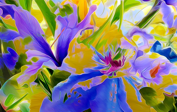 Картинка листья, цветы, природа, рендеринг, лепестки, клумба