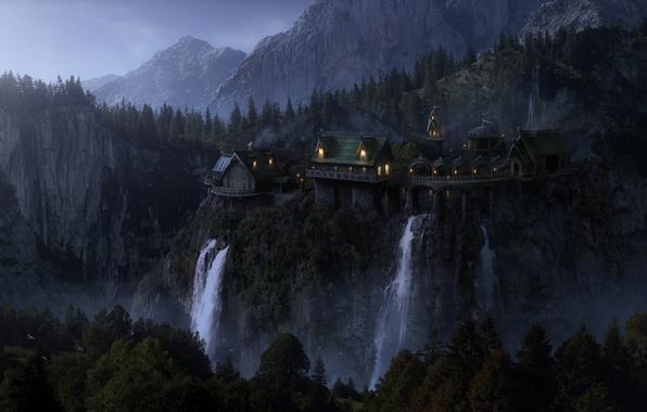 Картинка лес, горы, птицы, lights, огни, скалы, вечер, фэнтези, Властелин Колец, fantasy, водопады, сумерки, trees, mountains, …