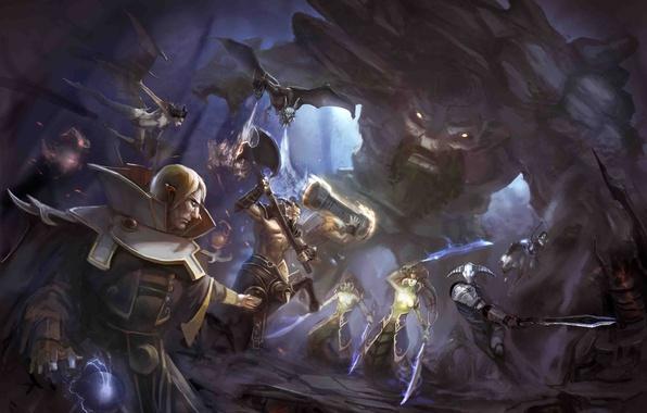 Картинка оружие, магия, монстр, меч, молот, арт, битва, топор, демоны, секира, dota 2