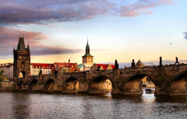 Картинка мост, город, вид, Прага, Чехия, красивый, средневековый, Praga, через, Влтаву., Czech Republic, реку, мостовую, башню, …