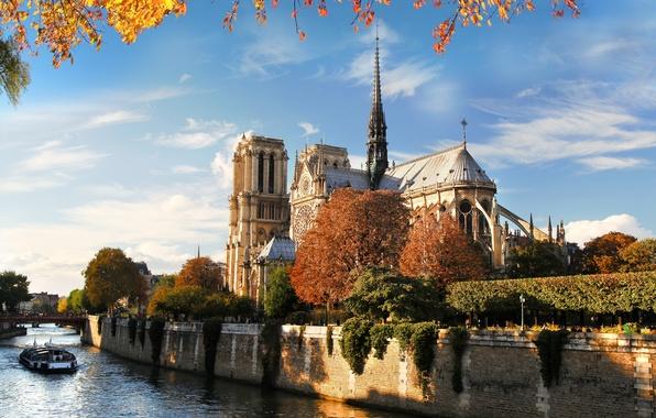 Картинка осень, мост, природа, город, река, Франция, Париж, Сена, Paris, архитектура, Собор Парижской Богоматери, France, Notre …