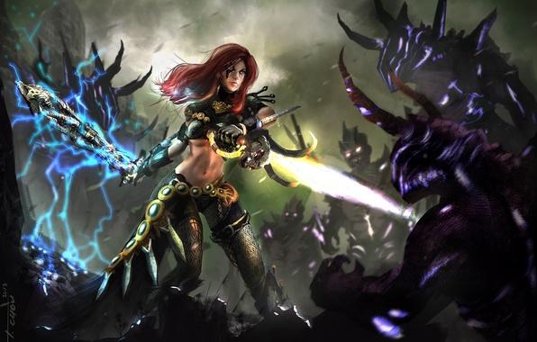 Картинка девушка, магия, меч, арт, монстры, битва, демоны