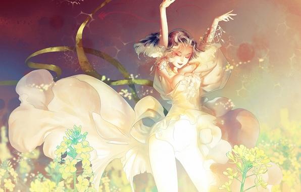 Картинка девушка, танец, арт, блондинка, локоны