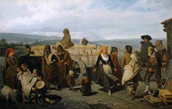 Картинка горы, дети, люди, картина, Танец, повозка, жанровая, Валериано Домингес Беккер