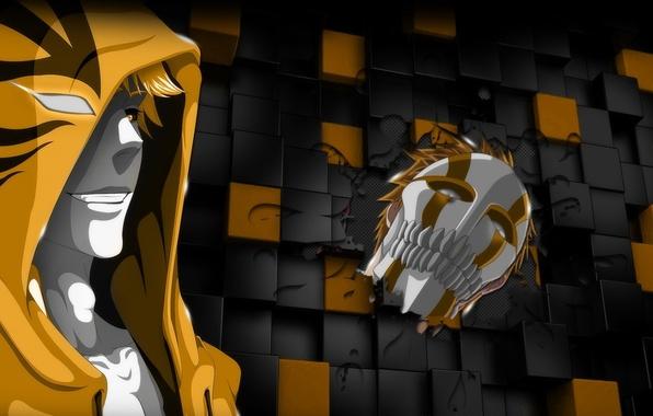 Картинка game, Bleach, chaos, yellow, anime, boy, Ichigo, face, blonde, hero, asian, Kurosaki Ichigo, mask, manga, …