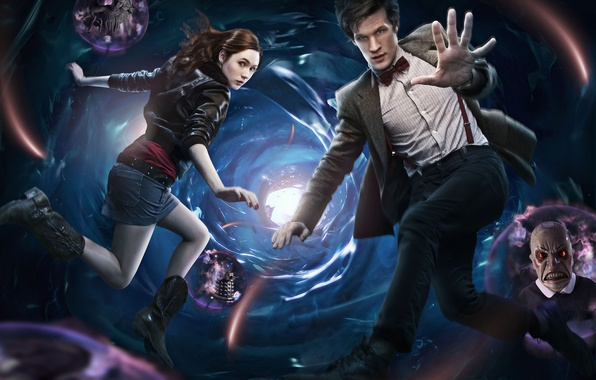 Картинка сериал, Doctor Who, Доктор Кто, воронка, Мэтт Смит, Matt Smith, Amy Pond, Карен Гиллан, Karen ...