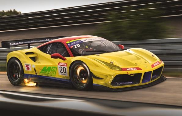 Картинка Ferrari, Car, Race, GTB, Speed, GT3, Yellow, Track, 488