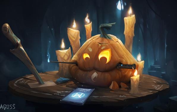Картинка праздник, свечи, арт, Halloween, тыква, телефон, Хэллоуин, ножи
