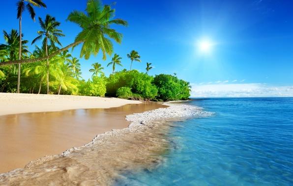 Картинка песок, море, пляж, небо, солнце, тропики, океан, берег, summer, sunshine, beach, sky, sea, ocean, coast, …