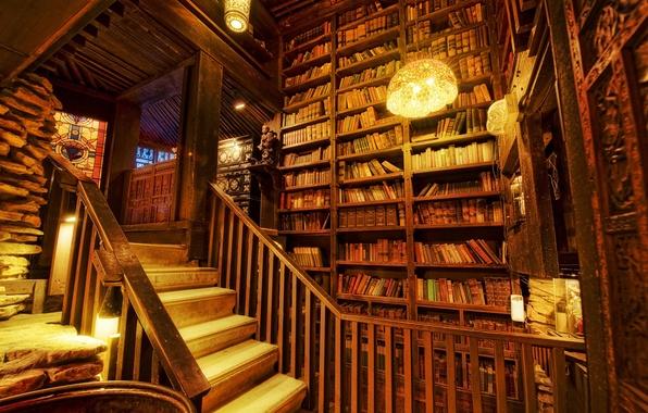 Картинка light, books, stairs, Library, shelving