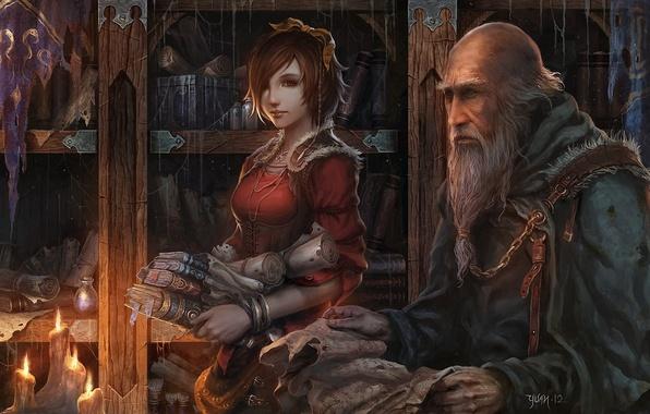 Картинка девушка, книги, паутина, свечи, арт, старик, шкаф, библиотека, Diablo 3, Leah, рукопись, chaoyuanxu, Deckard Cain, …