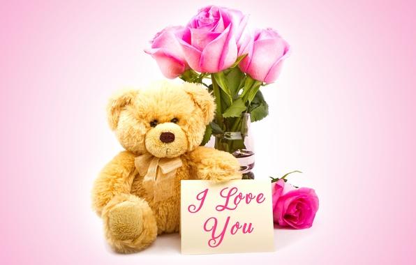 Картинка любовь, подарок, розы, мишка, love, bear, heart, romantic, Valentine's Day, Teddy