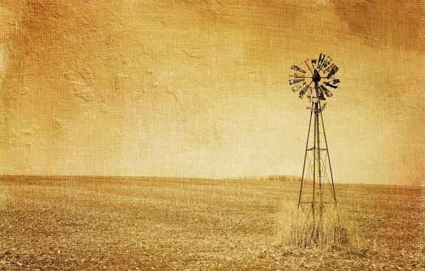 Картинка поле, стиль, фон, ветряк