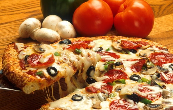 Картинка грибы, еда, сыр, пища, пицца, помидоры, оливки, pizza, вкусно, маслины, mushrooms, tomatoes, cheese