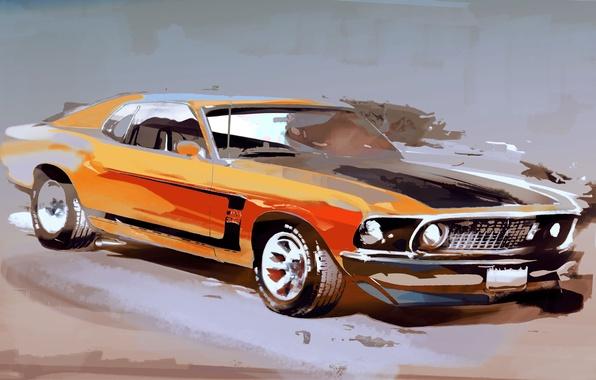 Картинка машина, Mustang, ford, рисованное