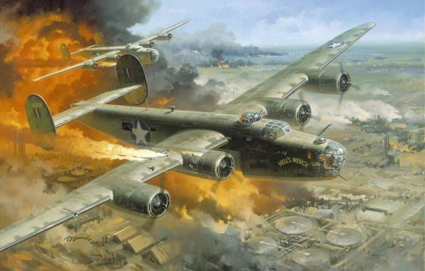 "Картинка город, самолет, пожар, Romania, 1943 -- \""Hell\'s Wench, Fire Over Ploesti by Roy Grinnell, Ploesti, …"