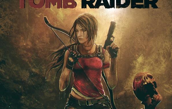 Картинка девушка, оружие, пистолеты, игра, череп, лук, арт, lara croft, tomb raider, Square Enix, Расхитительница гробниц, …