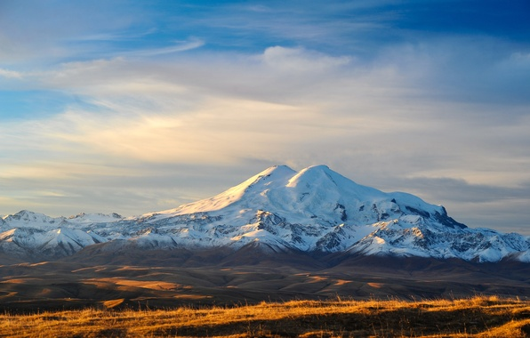 Картинка небо, снег, горы, земля, долина, вершина, Кавказ, Эльбрус