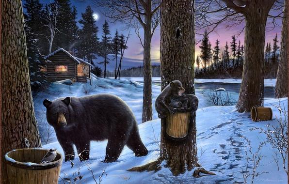 Картинка зима, лес, природа, дом, река, луна, избушка, медведь, Картина, медвежата, Midnight snack, Ervin Molnar