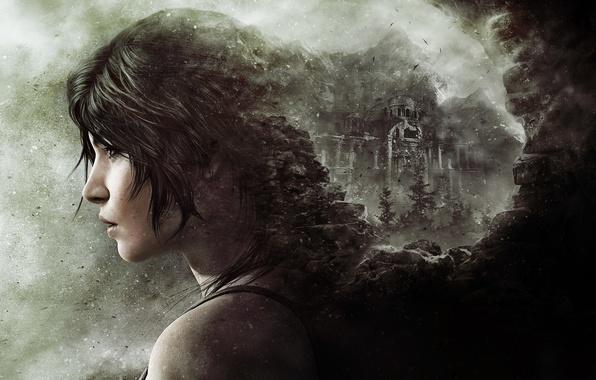 Картинка девушка, камни, волосы, пыль, губы, крепость, Лара Крофт, плечо, Square Enix, Lara Croft, Crystal Dynamics, …