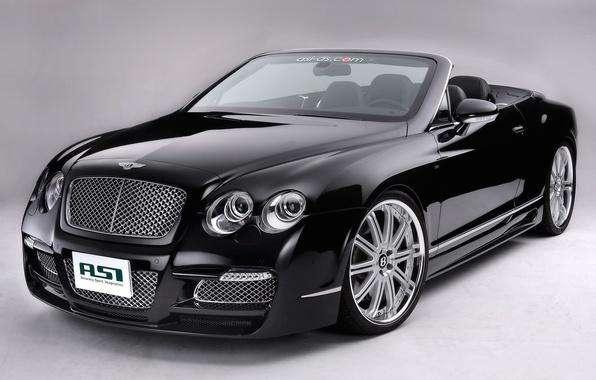 Картинка черный, Bentley, Машина, кабриолет, диски, на сером фоне