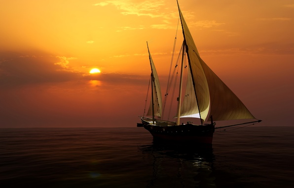 Фото обои море, небо, закат, яхта, горизонт, паруса, 3D