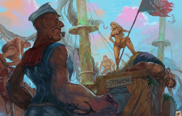 Картинка art, crossover, Amazon, Dragon's Crown, Popeye