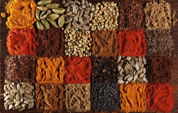 Картинка перец, семечки, гвоздика, специи, кардамон, паприка, кориандр, тмин, куркума