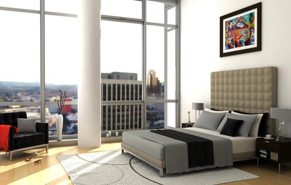 Картинка кровать, картина, окно, тумбочка, подушка, спальня