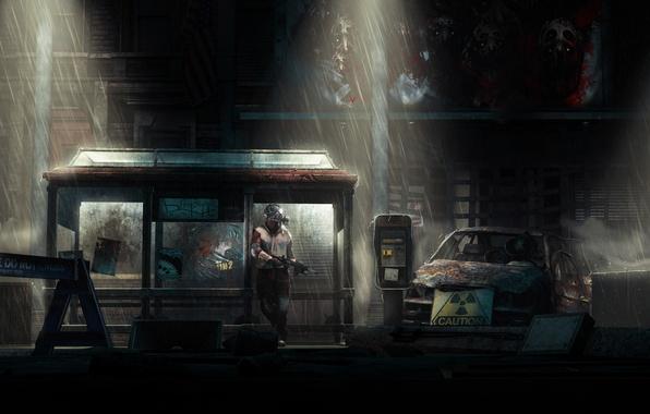 Картинка ночь, город, рендеринг, дождь, апокалипсис, человек, радиация, автомат, противогаз, руины, source filmmaker