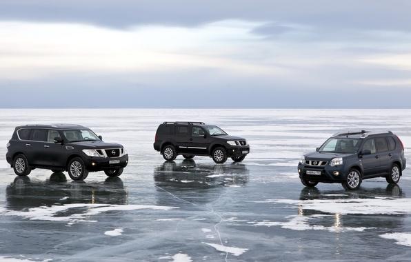 Картинка небо, снег, озеро, лёд, Байкал, джип, Ниссан, внедорожник, Nissan, Pathfinder, кроссовер, Patrol, X-Trail, Патрол, Икс-Треил, …