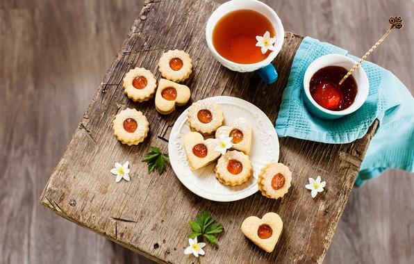 Картинка цветы, чай, сердце, еда, colorful, печенье, формы, чашка, heart, пить, food, flowers, cup, сладкое, sweet, …