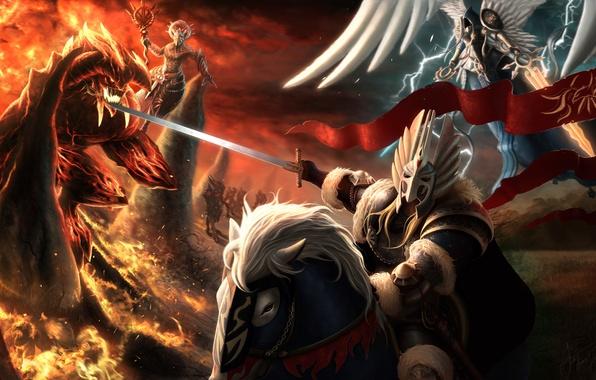 Картинка конь, магия, ангел, меч, доспехи, демон, арт, всадник, Heroes of Might and Magic