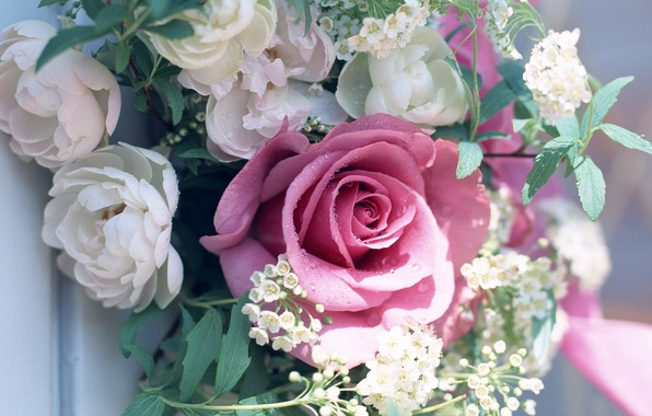 Картинка зелень, листья, цветы, роза, букет, пионы